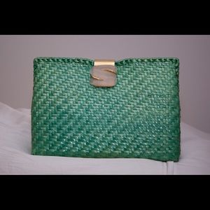 Vintage Green Rodo Italy Glazed Straw Clutch Purse